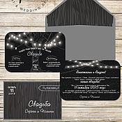 Свадебный салон ручной работы. Ярмарка Мастеров - ручная работа Приглашения на свадьбу в стиле Рустик ( +электронный дизайн). Handmade.