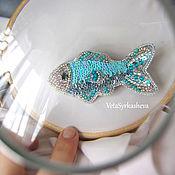 Украшения handmade. Livemaster - original item Fish brooch embroidered with beads. Handmade.