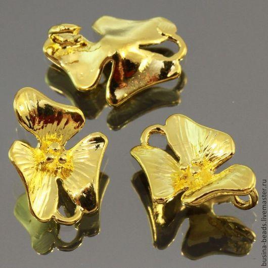 Металлическая подвеска коннектор цветок орхидеи из латуни с покрытием под золото для использования в сборке украшений