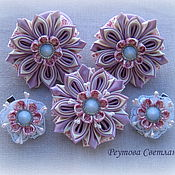 Работы для детей, handmade. Livemaster - original item Hair bands Pink secret in the technique of kanzashi. Handmade.