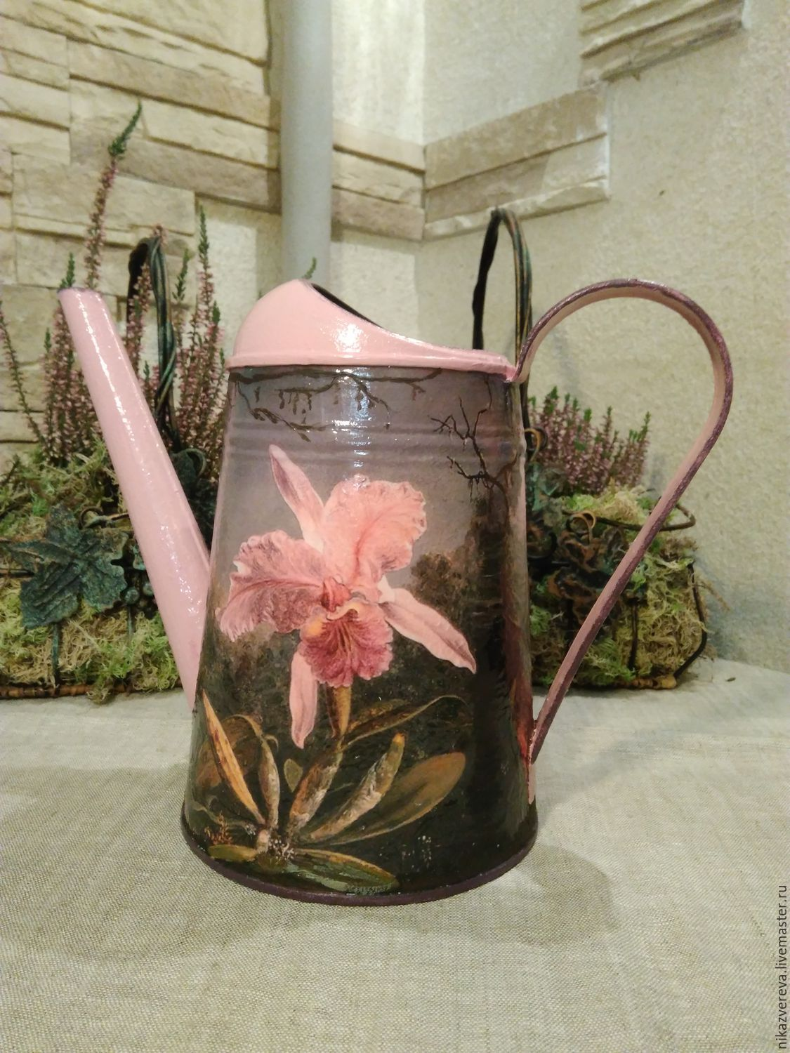 Watering can decoupage 'Orchid', Heads, St. Petersburg,  Фото №1