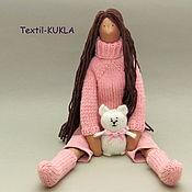 Куклы и игрушки handmade. Livemaster - original item Long-haired doll Tilda and her knitted cat. Handmade.