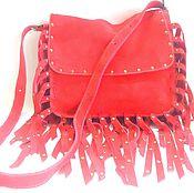 handmade. Livemaster - original item Crossbody bag: Women`s scarlet suede VARVARA bag in boho style. Handmade.