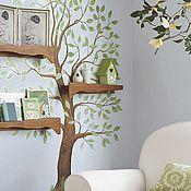 Декор ручной работы. Ярмарка Мастеров - ручная работа роспись дерева с полочками в гостинной. Handmade.