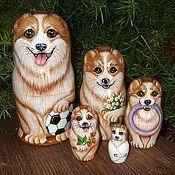 Русский стиль handmade. Livemaster - original item Matryoshka Dog Family Corgi. Handmade.