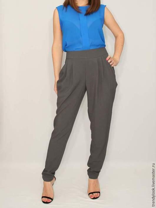 Брюки, шорты ручной работы. Ярмарка Мастеров - ручная работа. Купить Серые брюки для офиса,штаны галифе. Handmade. Однотонный