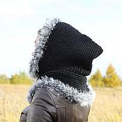 Аксессуары ручной работы. Ярмарка Мастеров - ручная работа Чёрная шерстяная шапка-капюшон  с опушкой. Handmade.