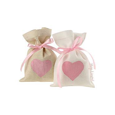 Свадебный салон ручной работы. Ярмарка Мастеров - ручная работа 10х15см. 10шт. Мешочки льняные с розовым сердцем. Handmade.