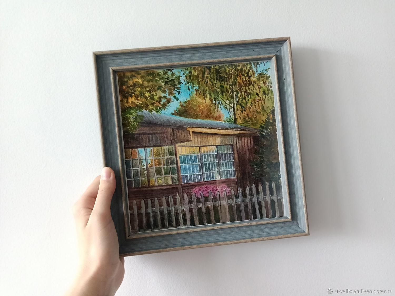 Картина акварель: деревенский пейзаж, домик в лесу, Картины, Томск,  Фото №1