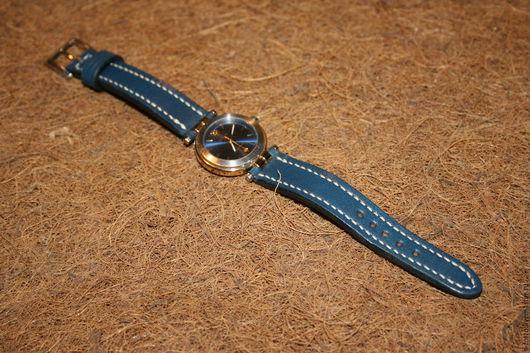 Пояса, ремни ручной работы. Ярмарка Мастеров - ручная работа. Купить Ремешок для женских часов. Handmade. Тёмно-синий