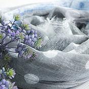 Аксессуары handmade. Livemaster - original item Gray-blue linen scarf