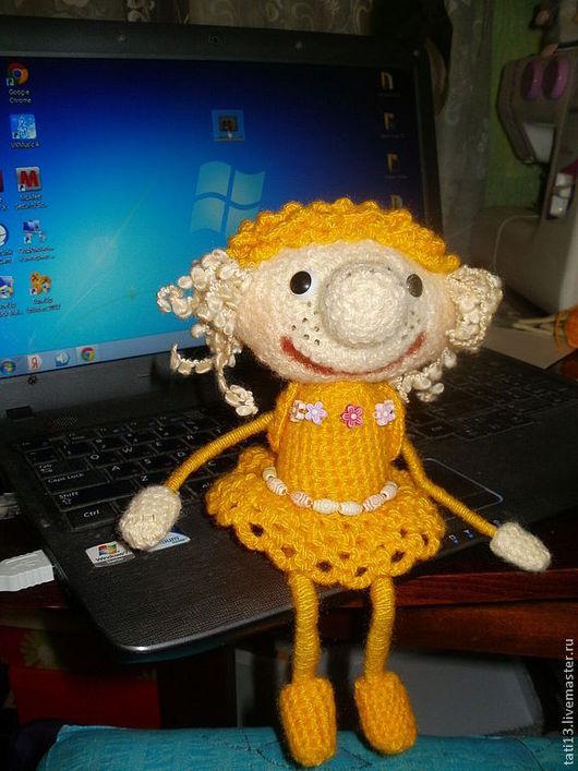 Человечки ручной работы. Ярмарка Мастеров - ручная работа. Купить Интерьерная вязаная кукла. Handmade. Желтый, хороший подарок