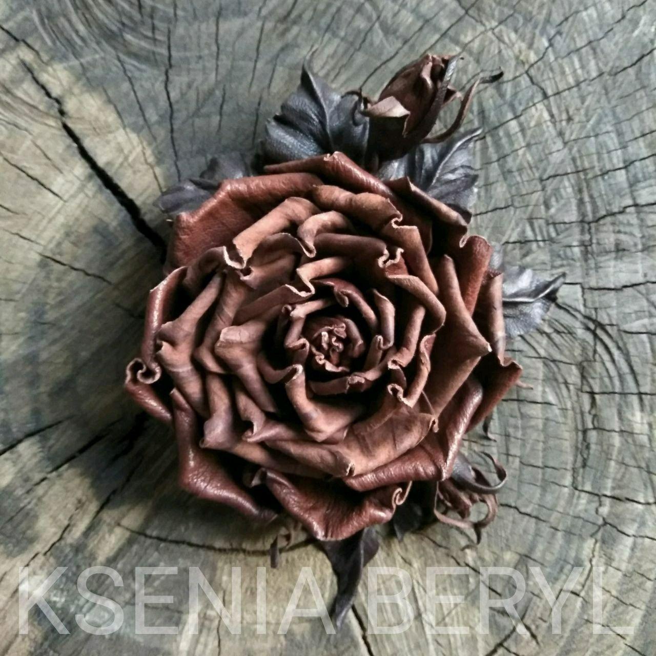 """Б! Брошь из кожи""""Brown Rose """", Броши, Алматы, Фото №1"""