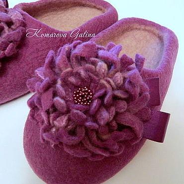 """Обувь ручной работы. Ярмарка Мастеров - ручная работа женские тапочки """"Purple orchid"""". Handmade."""