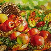 """Картины и панно ручной работы. Ярмарка Мастеров - ручная работа Картина маслом """"Осенние яблочки"""". Handmade."""
