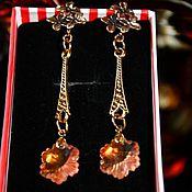 Украшения handmade. Livemaster - original item Gold plated earrings with Swarovski black Judith. Handmade.