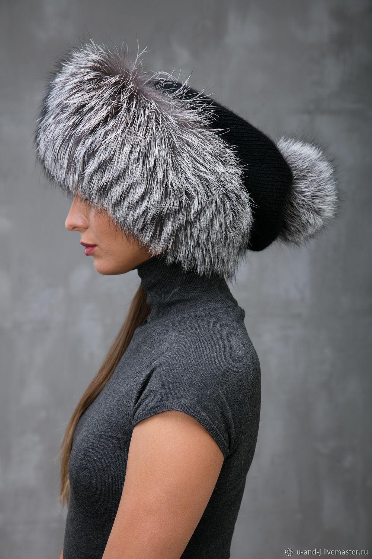 Меховая шапка с помпоном с чернобуркой, Аксессуары, Москва, Фото №1