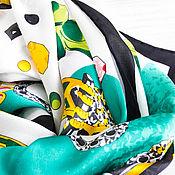 """Аксессуары handmade. Livemaster - original item Натуральный шелковый платок из ткани GUCCI """"Колесо года"""". Handmade."""