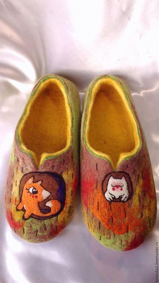 """Обувь ручной работы. Ярмарка Мастеров - ручная работа. Купить Тапочки женские """"Осень"""".. Handmade. Комбинированный, тапочки из шерсти, тапки"""