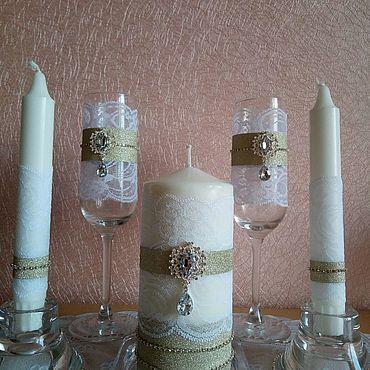 Свадебный салон ручной работы. Ярмарка Мастеров - ручная работа Набор аксессуаров бокалы и свечи. Handmade.