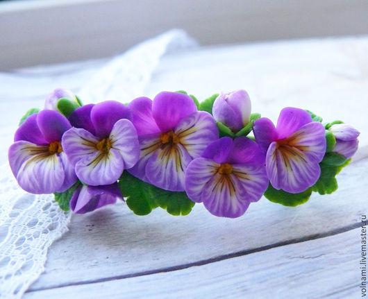 """Заколки ручной работы. Ярмарка Мастеров - ручная работа. Купить """"Анютины глазки"""" заколка. Handmade. Фиолетовый, Термопластика, цветы"""
