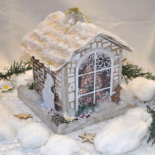 Новый год 2017 ручной работы. Ярмарка Мастеров - ручная работа. Купить Новогодний домик для подарка.. Handmade. Белый, рождественский домик