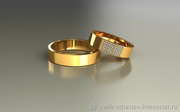 Свадебные украшения ручной работы. Ярмарка Мастеров - ручная работа. Купить Обручальные кольца с бриллиантами. Handmade. Золото, на свадьбу