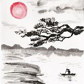 """Картины и панно ручной работы. Ярмарка Мастеров - ручная работа Триптих """"Японский пейзаж"""". Handmade."""
