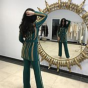 Одежда handmade. Livemaster - original item Emerald green suit, suit, cardigan and pants.. Handmade.
