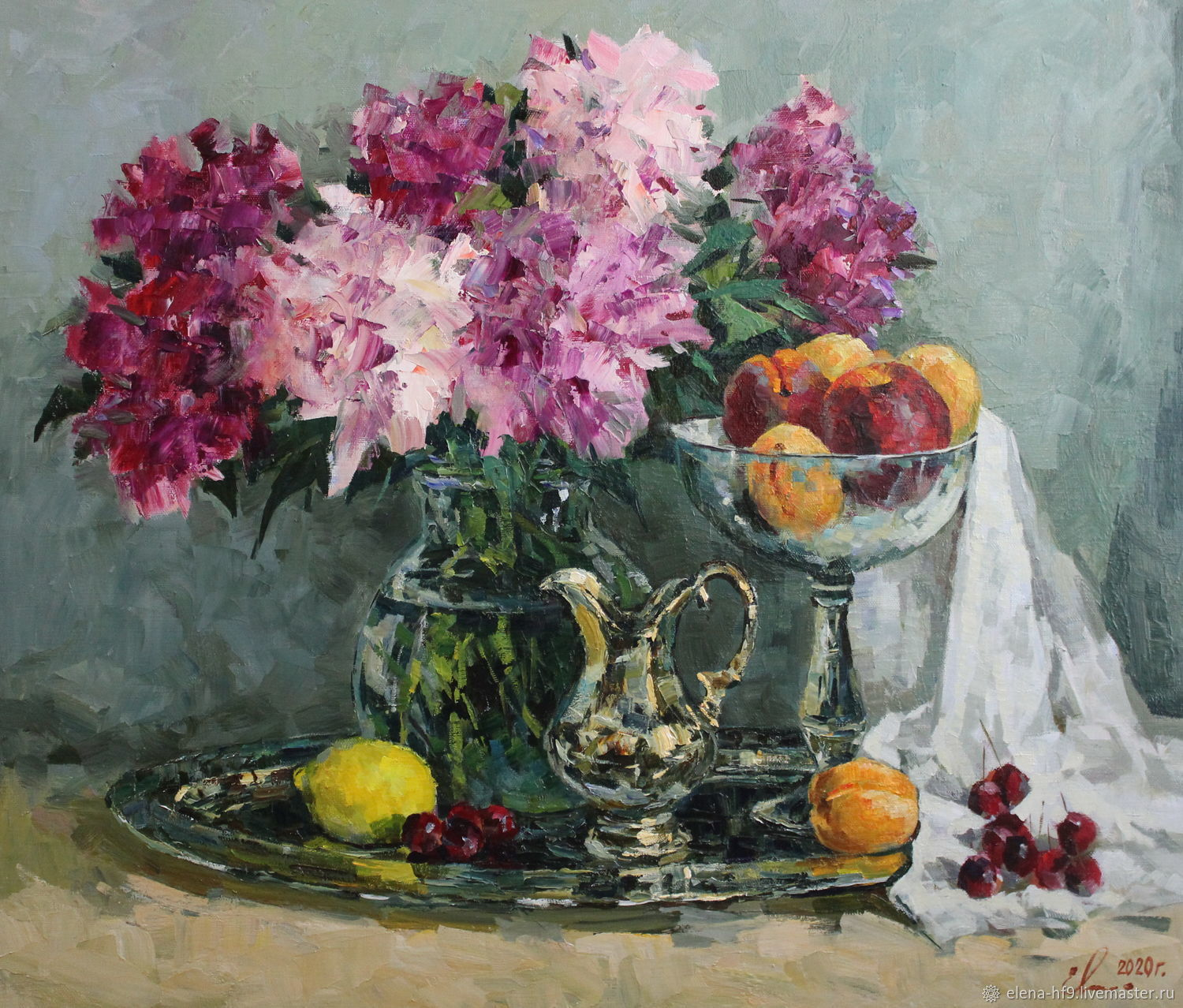 A picture. Peonies and fruits, Pictures, St. Petersburg,  Фото №1