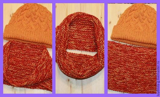 Шарфы и шарфики ручной работы. Ярмарка Мастеров - ручная работа. Купить SALE!Толстый снуд в один оборот, цвет - оранжево-желто-красный. Handmade.