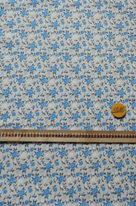 Шитье ручной работы. Ярмарка Мастеров - ручная работа. Купить ткань лен хлопок мелкие голубые розочки. Handmade. Лен