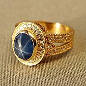 Украшения handmade. Livemaster - original item Ring of yellow gold with sapphire and diamonds. Handmade.