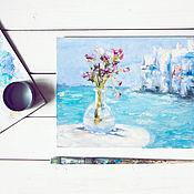 Картины и панно ручной работы. Ярмарка Мастеров - ручная работа Столик и море. Handmade.