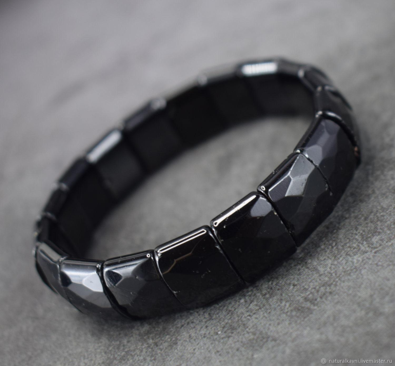Natural Black Tourmaline Cut Bracelet, Bead bracelet, Moscow,  Фото №1