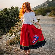 handmade. Livemaster - original item Red boho style skirt with embroidery. Handmade.