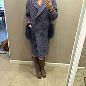 Одежда ручной работы. Ярмарка Мастеров - ручная работа пальто оверсайз с меховыми карманами. Handmade.