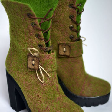 """Обувь ручной работы. Ярмарка Мастеров - ручная работа Валяные ботильоны """"Лесная волшебница"""". Handmade."""