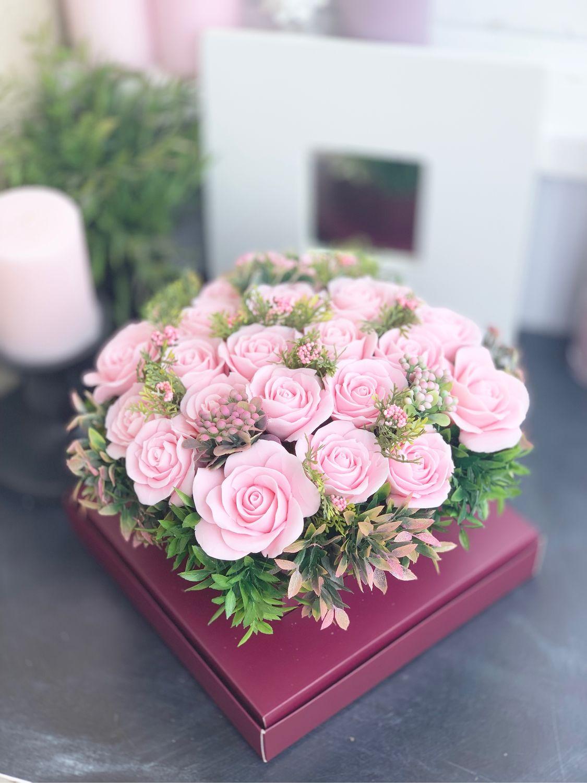 Букет из мыла ручной работы «Розовая мечта» 21 шт, Мыло, Москва, Фото №1