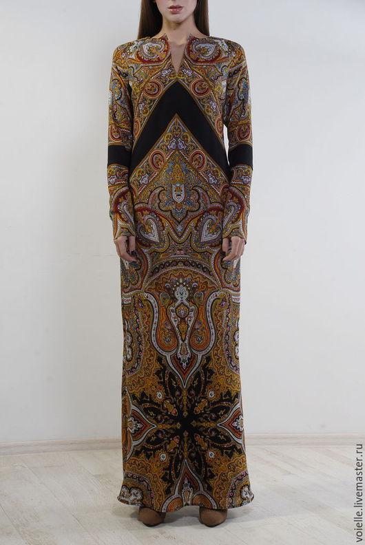 Платье из павловопосадского платка, платье из платка, платье с орнаментом павловопосадский платок, купить платье из платков, платье из платков, платье тёплое, платье из павлопосадских платков