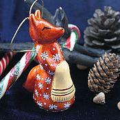 Елочные игрушки ручной работы. Ярмарка Мастеров - ручная работа Елочная игрушка из папье маше Лиса. Handmade.
