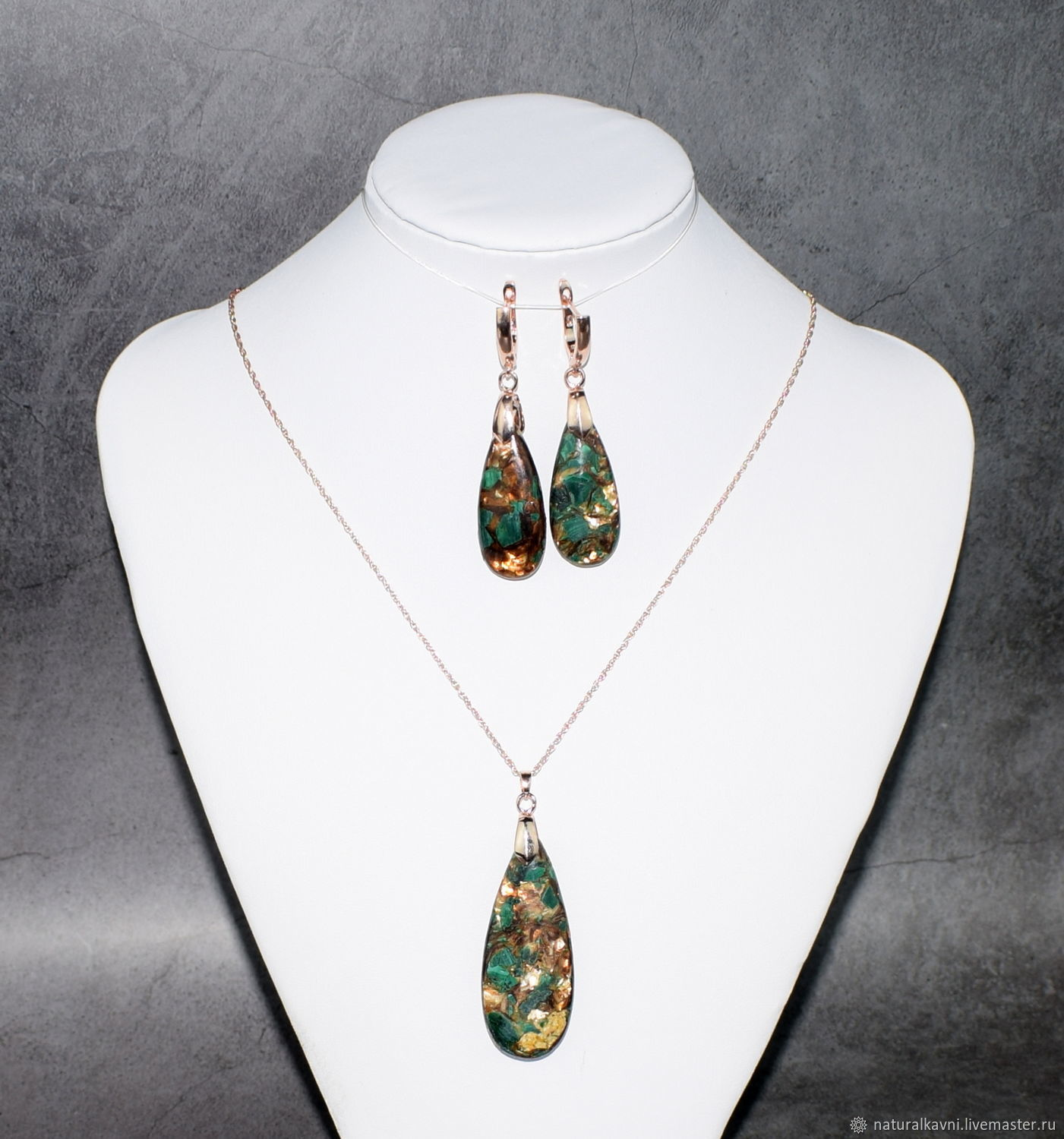 Earrings and pendant made of natural malachite in fuchsia, Jewelry Sets, Moscow,  Фото №1