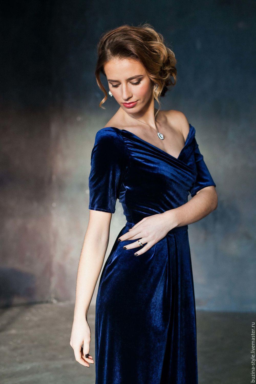 4bedbc061bb Платья ручной работы. Ярмарка Мастеров - ручная работа. Купить Синее платье  из бархата.