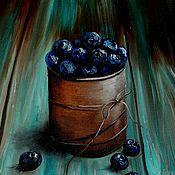 Картины и панно ручной работы. Ярмарка Мастеров - ручная работа Картина маслом Голубика. Handmade.