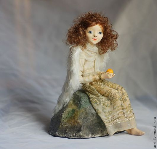 Коллекционные куклы ручной работы. Ярмарка Мастеров - ручная работа. Купить Ангел с апельсином. Авторская кукла. Handmade. Бежевый, ангелочек