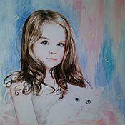 Картины и панно handmade. Livemaster - original item Girl with cat. Handmade.