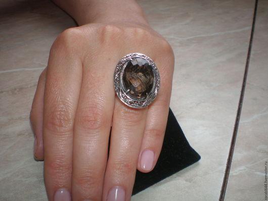 Кольца ручной работы. Ярмарка Мастеров - ручная работа. Купить Авторское серебряное кольцо с раухтопазом.. Handmade. Коричневый