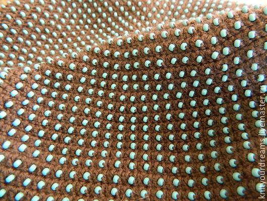 Шапки ручной работы. Ярмарка Мастеров - ручная работа. Купить Шапка коричневая с голубым матовым бисером. Handmade. Коричневый