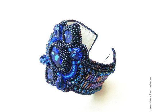 """Браслеты ручной работы. Ярмарка Мастеров - ручная работа. Купить """"Индиго"""" браслет. Handmade. Тёмно-синий, стильный браслет"""