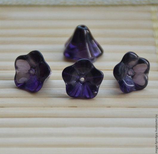 Для украшений ручной работы. Ярмарка Мастеров - ручная работа. Купить Стеклянный цветок 12 х 10 Аметистовый. Handmade.